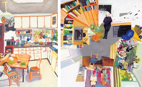 """העבודות """"הסטודיו של שולמית דוידוביץ'"""" (מימין) ו""""בית פתוח אצל דניאלה מלר"""". דמויות הדיירים תמיד נוכחות"""