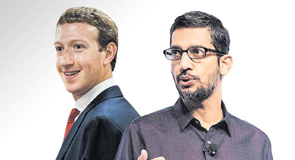 """מנכ""""ל גוגל סונדאר פיצ'אי ו מנכ""""ל פייסבוק מארק צוקרברג, צילום: בלומברג"""