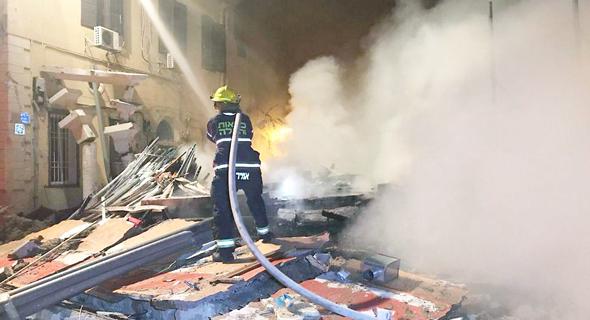 פיצוץ המבנה ביפו, צילום: דוברות כבאות והצלה