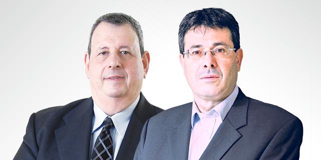 מימין אלדד פרשר מנכל בנק מזרחי טפחות וישראל טראו מנכל בנק איגוד