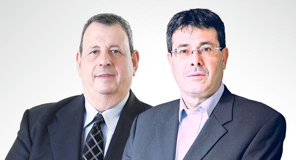 מימין אלדד פרשר מנכל בנק מזרחי טפחות  ו ישראל טראו מנכל בנק איגוד, צילום: עמית שעל, אוראל כהן