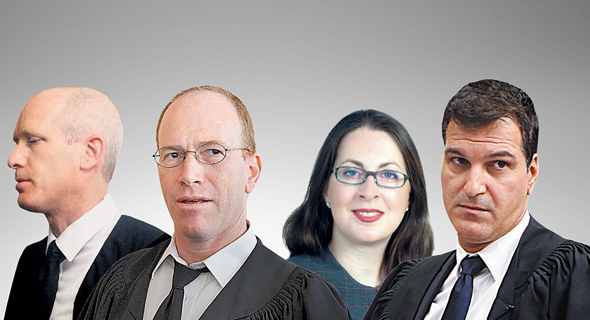 מימין עורכי הדין ארז חבר, חנית נוב, שאול קוטלר ויניב אינסל