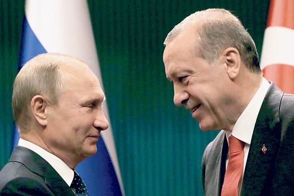 """ארדואן ופוטין בצילום של אוזביליצ'י. """"אני שגריר לא רשמי של העיתונות המקצועית"""""""