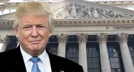 טראמפ על רקע וול סטריט, צילום: עוזי בלומר, TNS