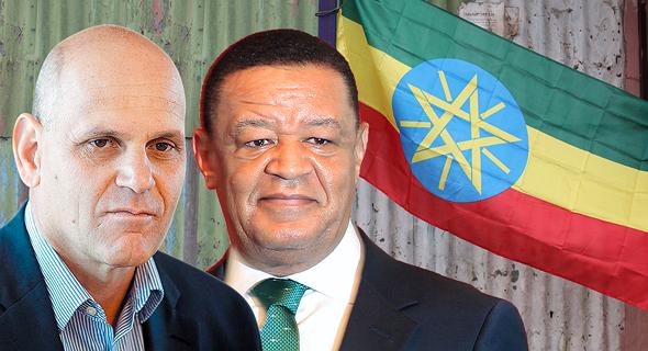 מימין נשיא אתיופיה מולטו טשומה ונשיא אלביט מערכות בעלת השליטה בסייברביט בצלאל מכליס