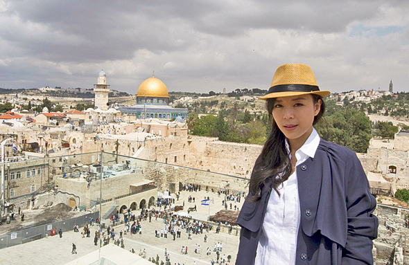 Chinese actress Zhang Jingchu visiting Jerusalem. Photo: IFP