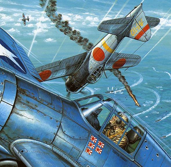 וויילדקט אמריקאי וזירו יפני בקרב תמרון. המטוס היפני זריז בהרבה, ואילו יריבו - בעל מיגון טוב יותר ועמידות בנזקים