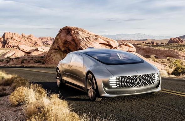 """הדמיית רכב העתיד של מרצדס. """"הוא יהיה אלקטרוני, מקושר לאינטרנט, אוטונומי ושיתופי, כך שיהיה אפשר להשכירו לזמן קצוב לאחרים"""""""