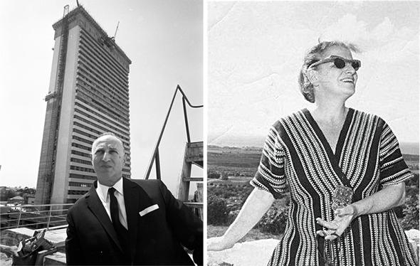 """מימין סבתה המעצבת פיני לייטרסדורף וסבה משה מאייר, ממקימי מגדל שלום. """"הוא נהג לקחת אותי לאכול פקין דאק בז'נבה"""""""