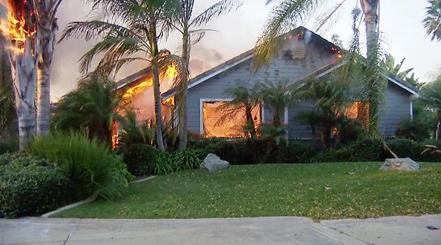 שריפה דרום קליפורניה דצמבר 2017, צילום: מסך BBC