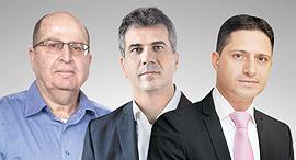 מימין: רוביק דנילוביץ', אלי כהן ומשה יעלון, צילום: תומריקו, דוברות המפלגה כולנו, ישראל יוסף