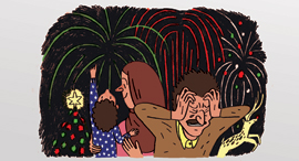 מוסף שבועי 14.12.17 איור בתנועה נרגילה עם סנטה קלאוס, איור: שמרית אלקנתי
