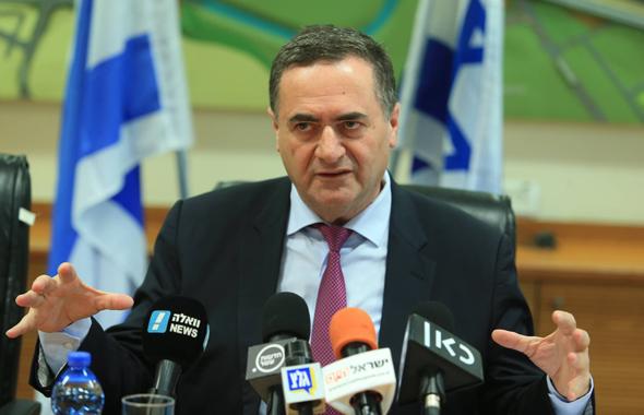 שר התחבורה ישראל כץ מסיבת עיתונאים, צילום: אוראל כהן