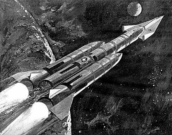 עיצוב ראשוני של החללית, בחרטומו של טיל