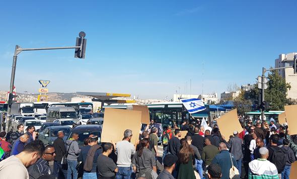 Teva employees blocking a road in Jerusalem. Photo: Omri Milman