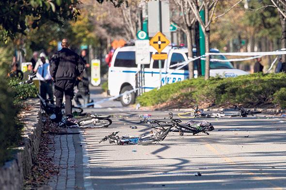 """זירת הפיגוע במנהטן באוקטובר השנה. """"עברתי שם יום לאחר הפיגוע. המרחב הציבורי הוא שלנו, לא ניכנע"""""""