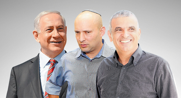 מימין משה כחלון נפתלי בנט ו בנימין נתניהו, צילומים: אוראל כהן, אלעד גרשגורן, קובי גדעון