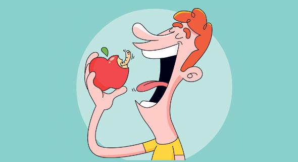התפוח מסתיר תולעת, איור: ערן מנדל