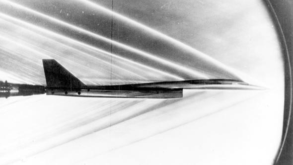 דגם של מטוס הוולקירי במנהרת רוח