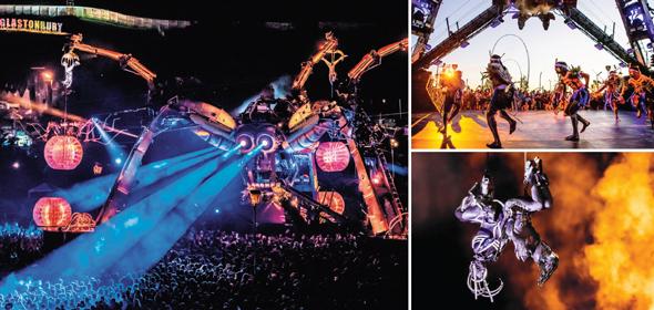 העכביש של ארקדיה ועוד פעלולים בפסטיבל גלסטונברי. חומרי גלם ממוחזרים מהתעשייה הצבאית , צילום: Luke taylor