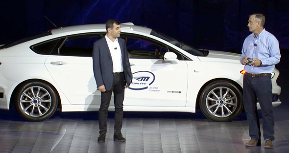 Mobileye's Amnon Shashua (left) and Intel CEO Brian Krzanich. Photo: Youtube