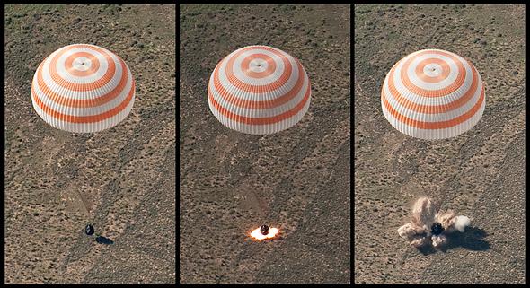 חללית סויוז רוסית בעת נחיתה - קודם מצנח, ואז רקטות האטה