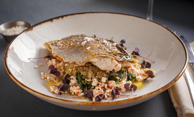 פילה דג ים על תבשיל פריקה, עולש בר, הריסה ולימון כבוש. 118 שקל. אלמרסא, נמל הדייגים, עכו העתיקה