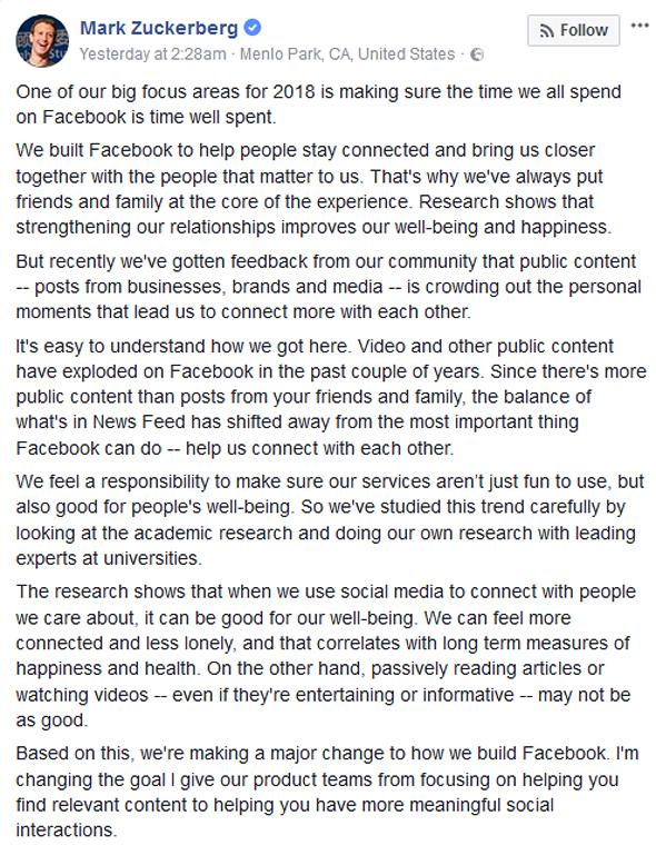 הפוסט של מארק צוקרברג מסוף השבוע