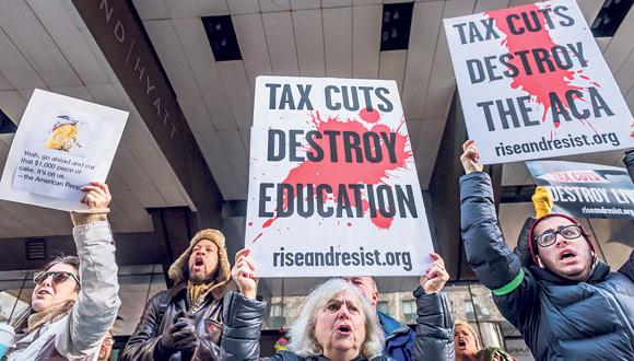 הפגנה נגד רפורמת המס של טראמפ, צילום: גטי אימג'ס