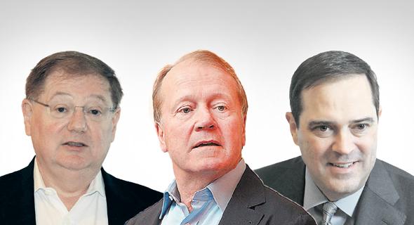 """מימין: מנכ""""ל ויו""""ר סיסקו הנוכחי צ'אק רובינס, המנכ""""ל והיו""""ר הקודם ג'ון צ'יימברס והמנכ""""ל לשעבר של NDS אייב פלד"""