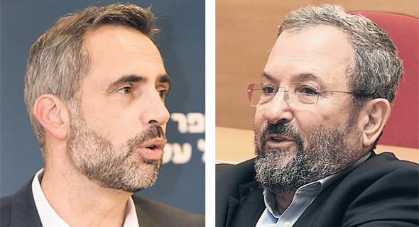 מימין: אהוד ברק ופרופ' פרנק סמטס בכנס במרכז הבינתחומי