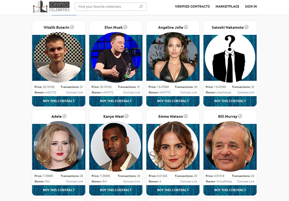 A screenshot from CryptoCelebrities before it was taken down