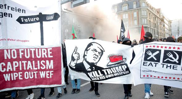 הפגנה נגד טראמפ והפורום הכלכלי בשבוע שעבר בברן, שוויץ, צילום: רויטרס