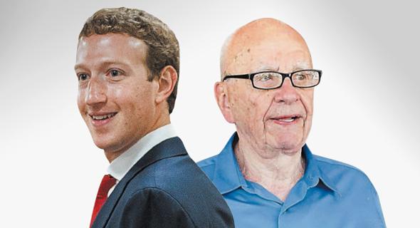מימין רופרט מרדוק ו מארק צוקרברג, צילום: אי.פי, בלומברג