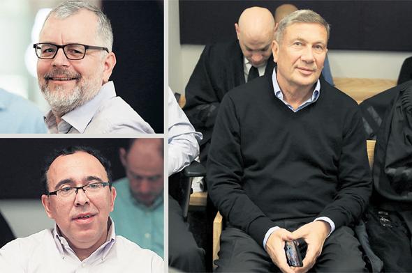 משמאל למעלה: מנחם פרלמן, נוחי דנקנר ואיל גבאי אתמול בבית המשפט, צילום: אוראל כהן