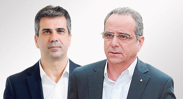 מימין שרגא ברוש ו אלי כהן, צילום: עמית שעל, גיא אסיאג