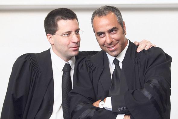 """מימין: עורכי הדין אופיר נאור ורנן גרשט ועו""""ד רונן עדיני , צילום: אוראל כהן"""