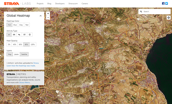 A screenshot of Strava's heatmap surrounding Netafim military base in the north of Israel