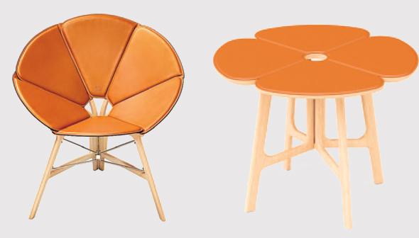 """כיסא מתקפל ושולחן קפה מתוך """"קונצרטינה"""" שיצרו ללואי ויטון"""