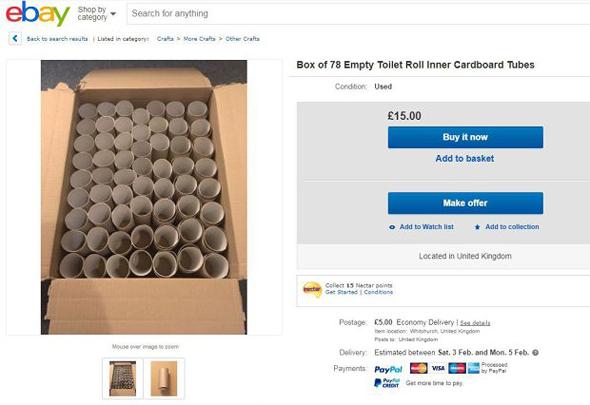 גלילי נייר טואלט למכירה איביי 2, צילום: Ebay