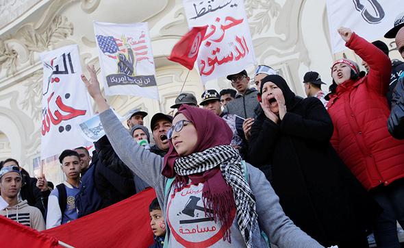 הפגנות בתוניס בתחילת החודש נגד חוק התקציב ועליית מחיר המזון