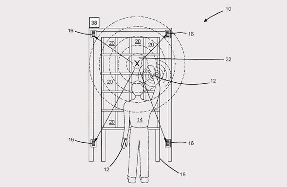איור של הצמיד של אמזון, מתוך הפטנט שנרשם במשרד הפטנטים האמריקאי