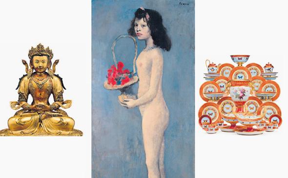 מתוך האוסף של רוקפלר. מימין: סרוויס מתקופת נפוליאון. שווי: 250-150 אלף דולר; יצירה של פבלו פיקאסו, 1905, מחיר לפי דרישה;