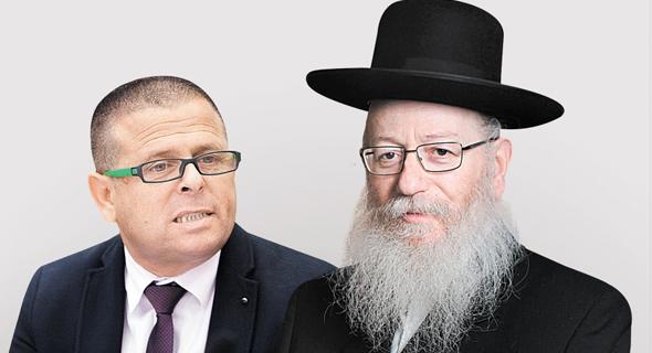 """מימין שר הבריאות יעקב ליצמן וח""""כ איתן כבל, צילום: עמית שעל, עומר מסינגר"""