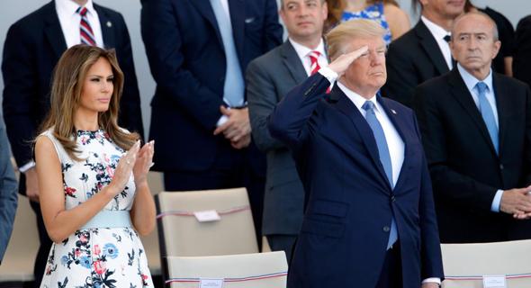 "נשיא ארה""ב דונלד טראמפ מלניה טראמפ מצדיע מצעד צבאי, צילום: גטי אימג'ס"