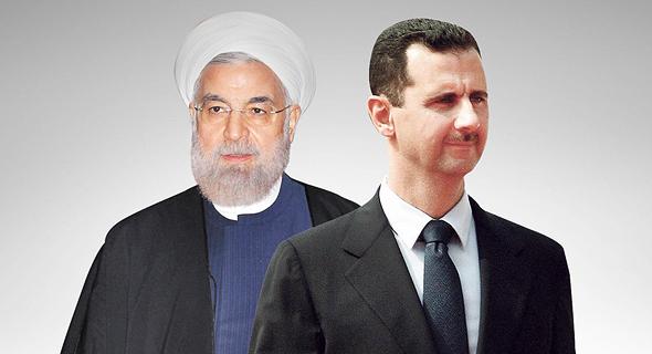 מימין נשיא סוריה בשאר אל אסד ונשיא איראן חסן רוחאני