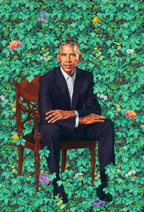 דיוקן חדש של ברק אובמה המוזיאון הלאומו ב וושינגטון הצייר השחור  Kehinde Wiley, ציור:  Kehinde Wiley