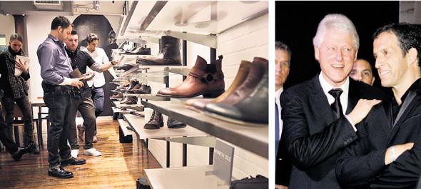 מימין: קול וקלינטון באירוע התרמה של אגודת amfAR, 2009, ועם צוות מעצבי הנעליים שלו. לחנויות הפיזיות יש פחות הצדקה כיום