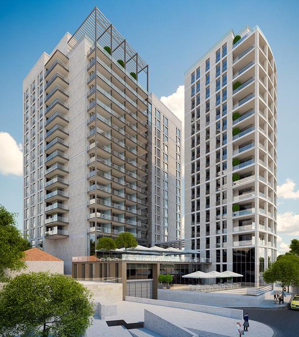 הדמיית מגדל המגורים והמלון