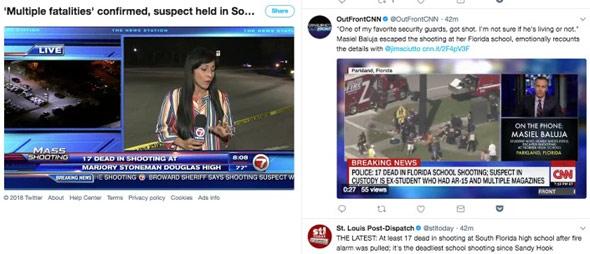 דיווח חדשותי בטוויטר, במהלך אירוע הירי